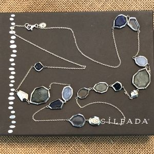Silpada Blue Lapis Gemstone Long Sterling Necklace